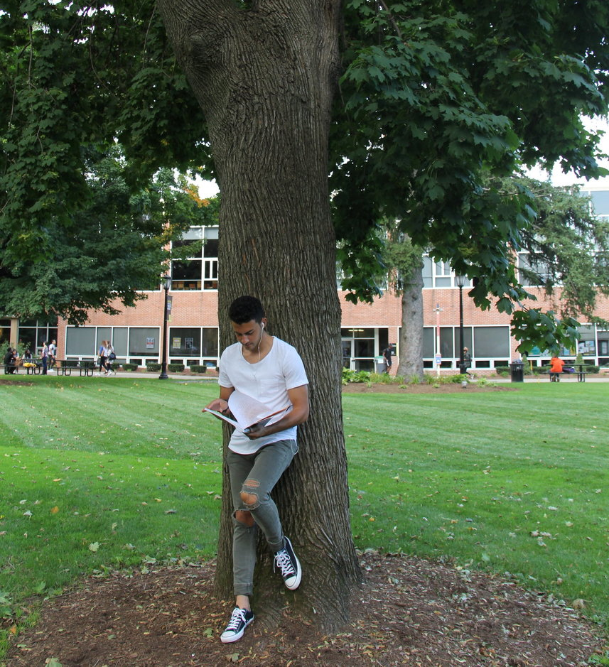 saint rose student leaning on a tree on campus green