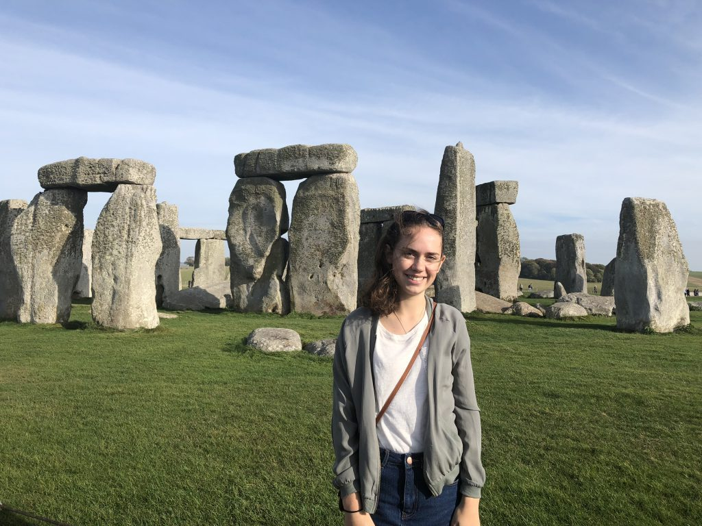 Maja De Garay in front of Stonehenge