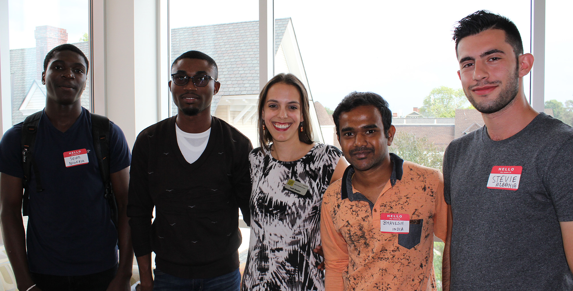 Students with Leah Shapiro, assistant director of International Students