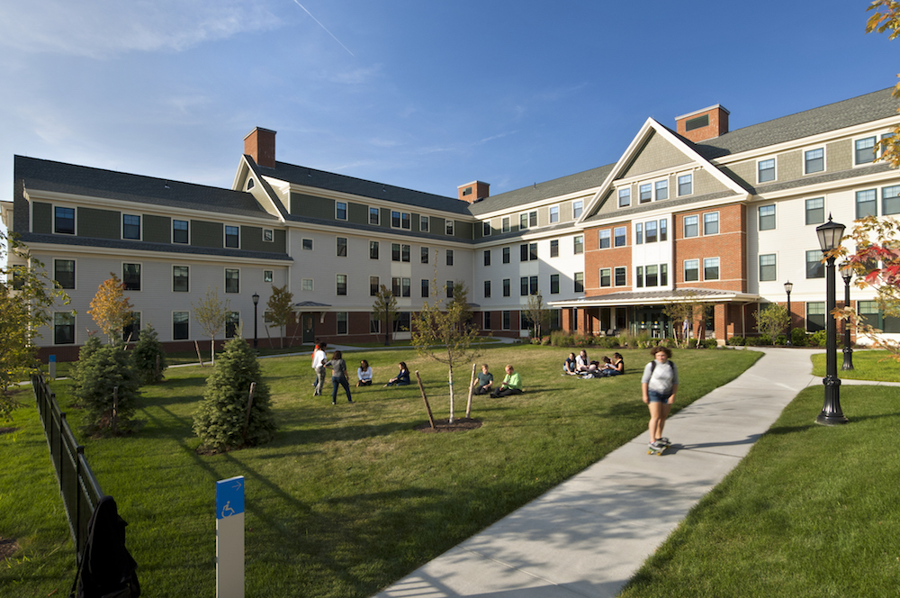 The back lawn of the giant dorm hall Centennial Hall