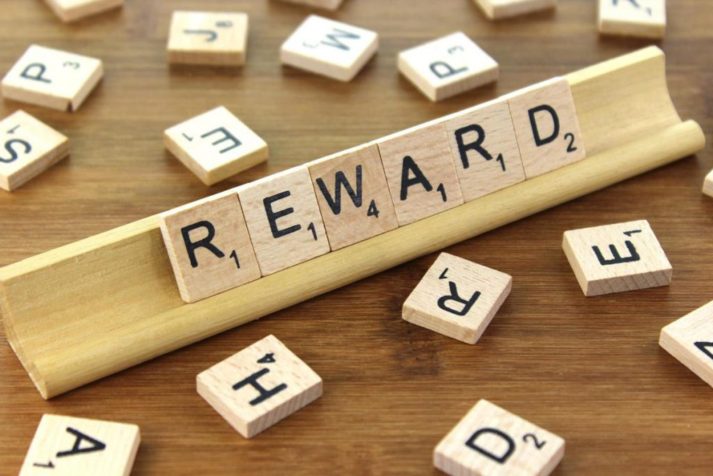 "scrabble tiles on holder spelling out ""reward"""