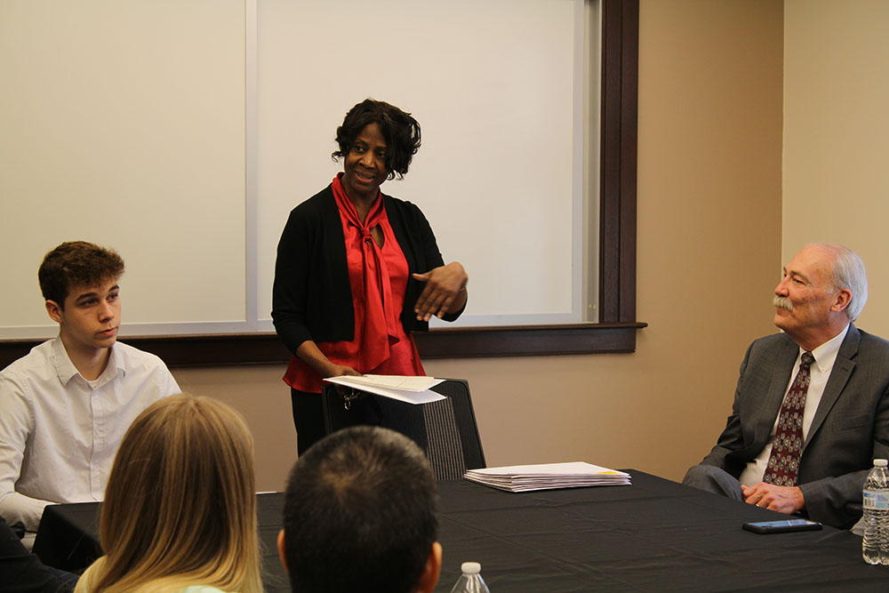 Internship coordinator Sharon Edwards-Grant speaking at the brunch