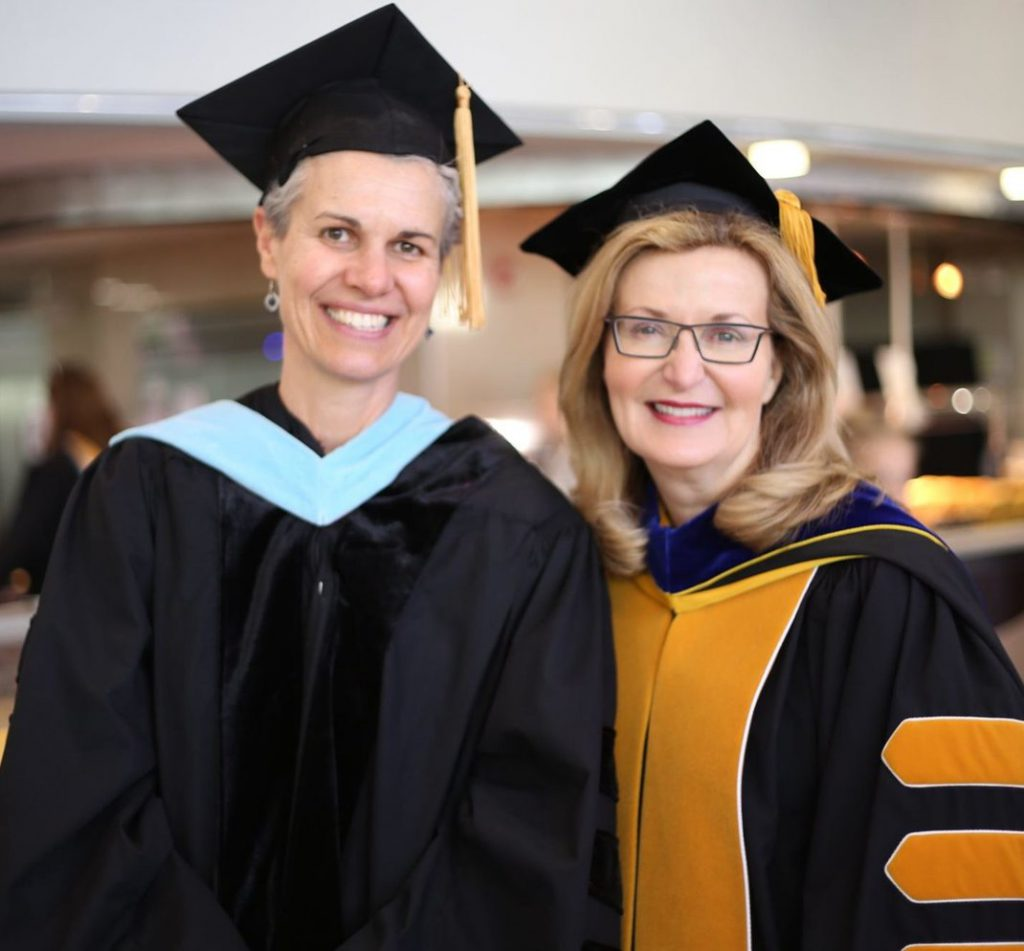 Professor Drey Martone and Saint Rose President Carolyn J. Stefanco