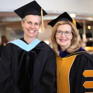 Professor Drey Martone and Saint Rose President Carolyn J. Stefanco
