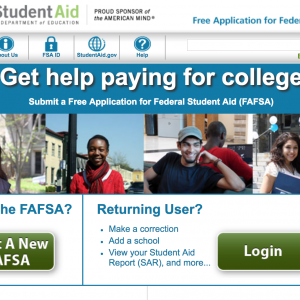 Screen shot of the FAFSA website.