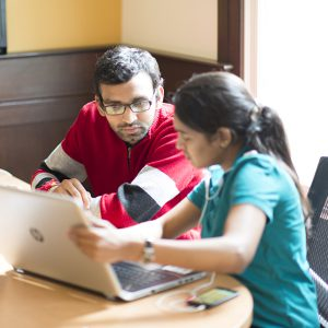 Graduate students study together