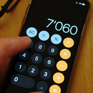 calculator on a smartphone