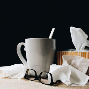 Mug, tissues, and glasses
