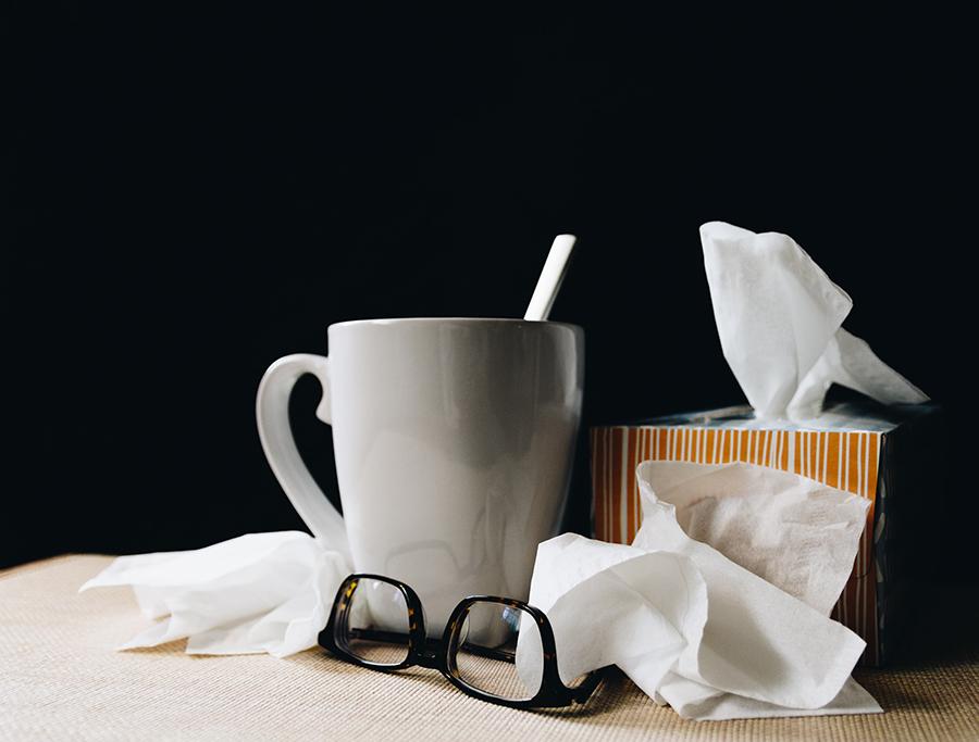 Mug, tissues, and glasses