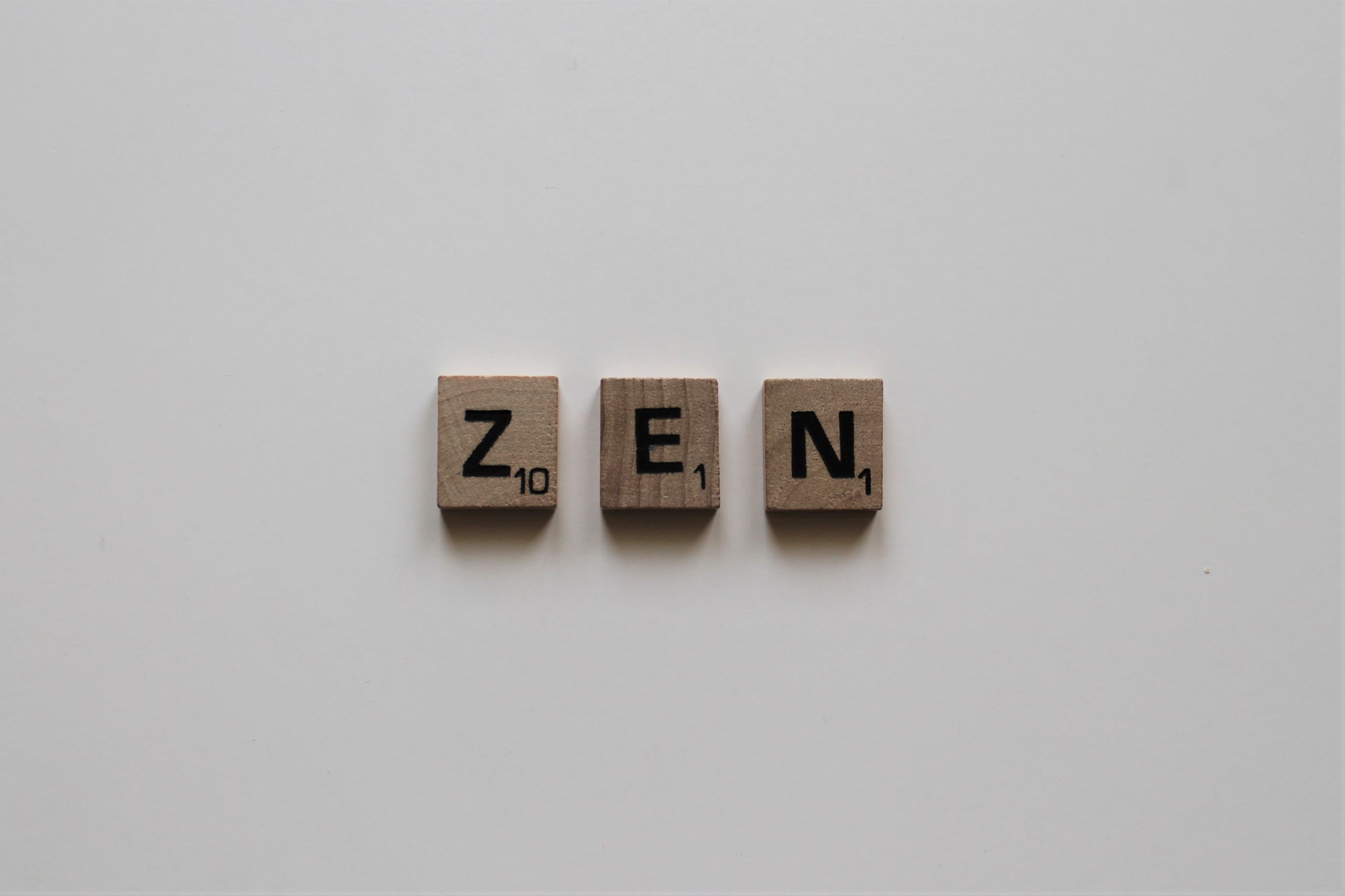 scrabble tiles that spell zen