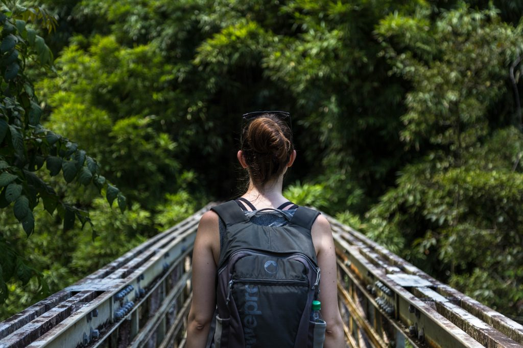 back of woman walking over a bridge in the woods