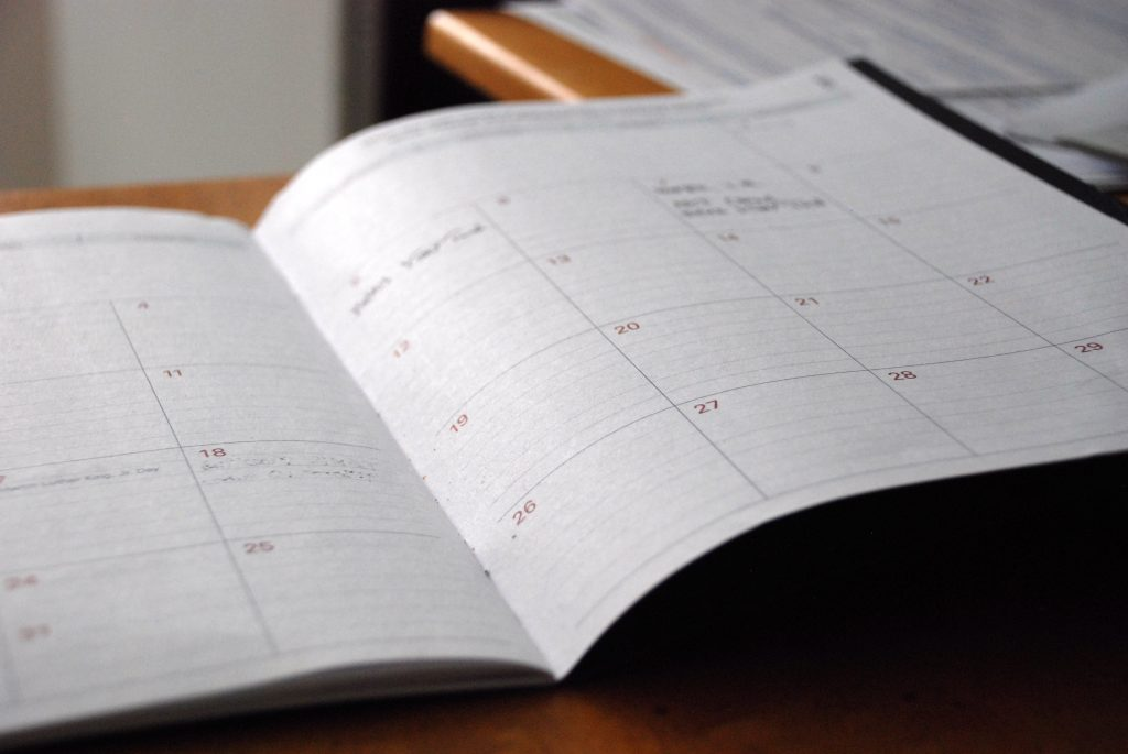 monthly planner laid open