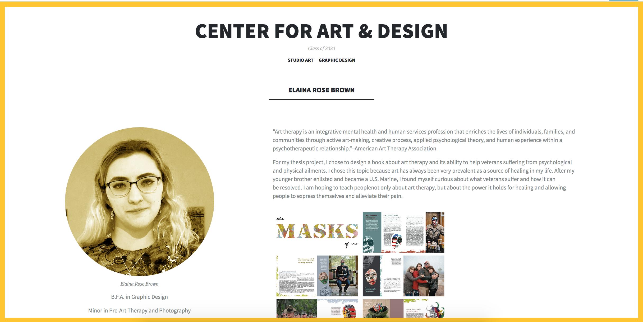 screenshot of center for art & design senior show 2020 page