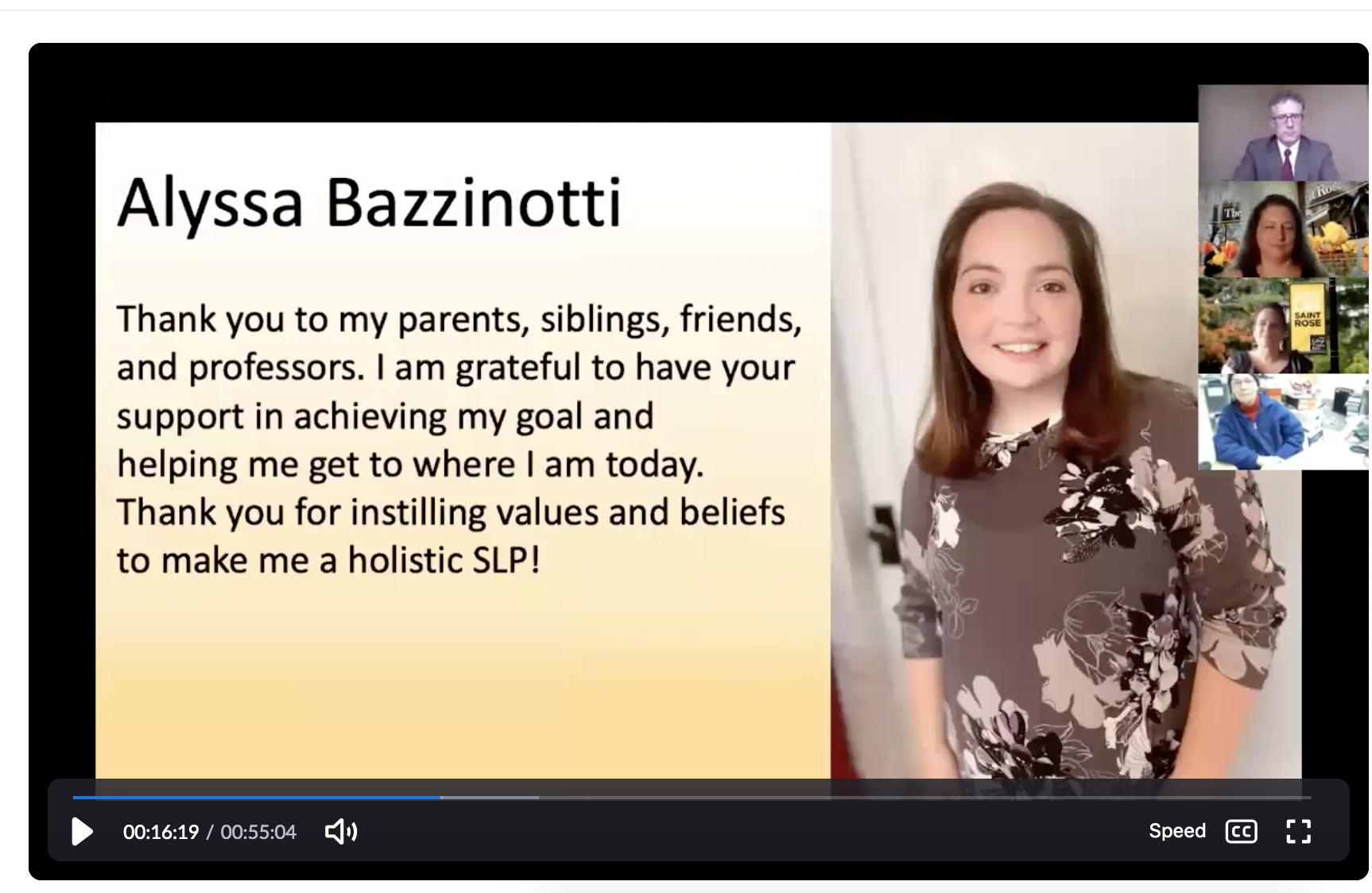 Alyssa Bazzinotti's slide from the virtual CSD graduation