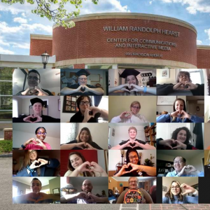 zoom screenshot of communications graduates imposed on photo of Hearst Center for Communications and Interactive Media