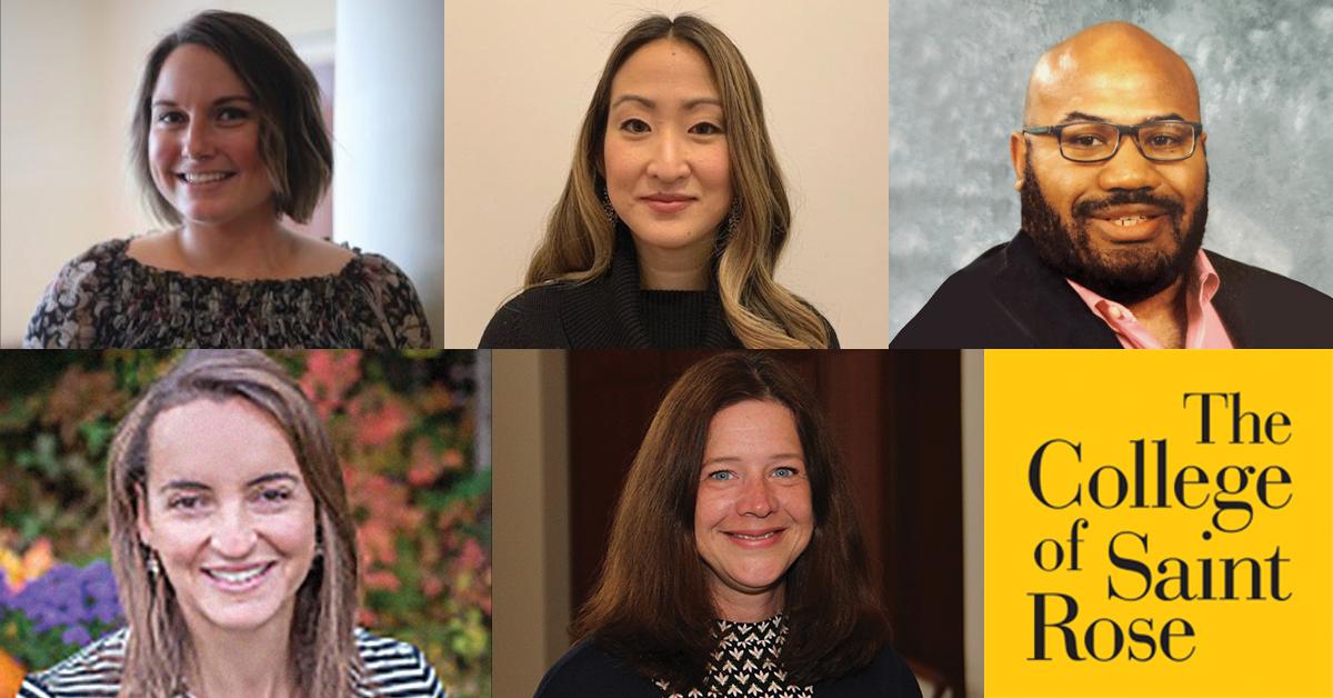 panelists for February 11 panel at Saint Rose: Elizabeth Power, Catie Magil, Jaymes White, Esma Simohamed, and Claudia Lingertat-Putnam