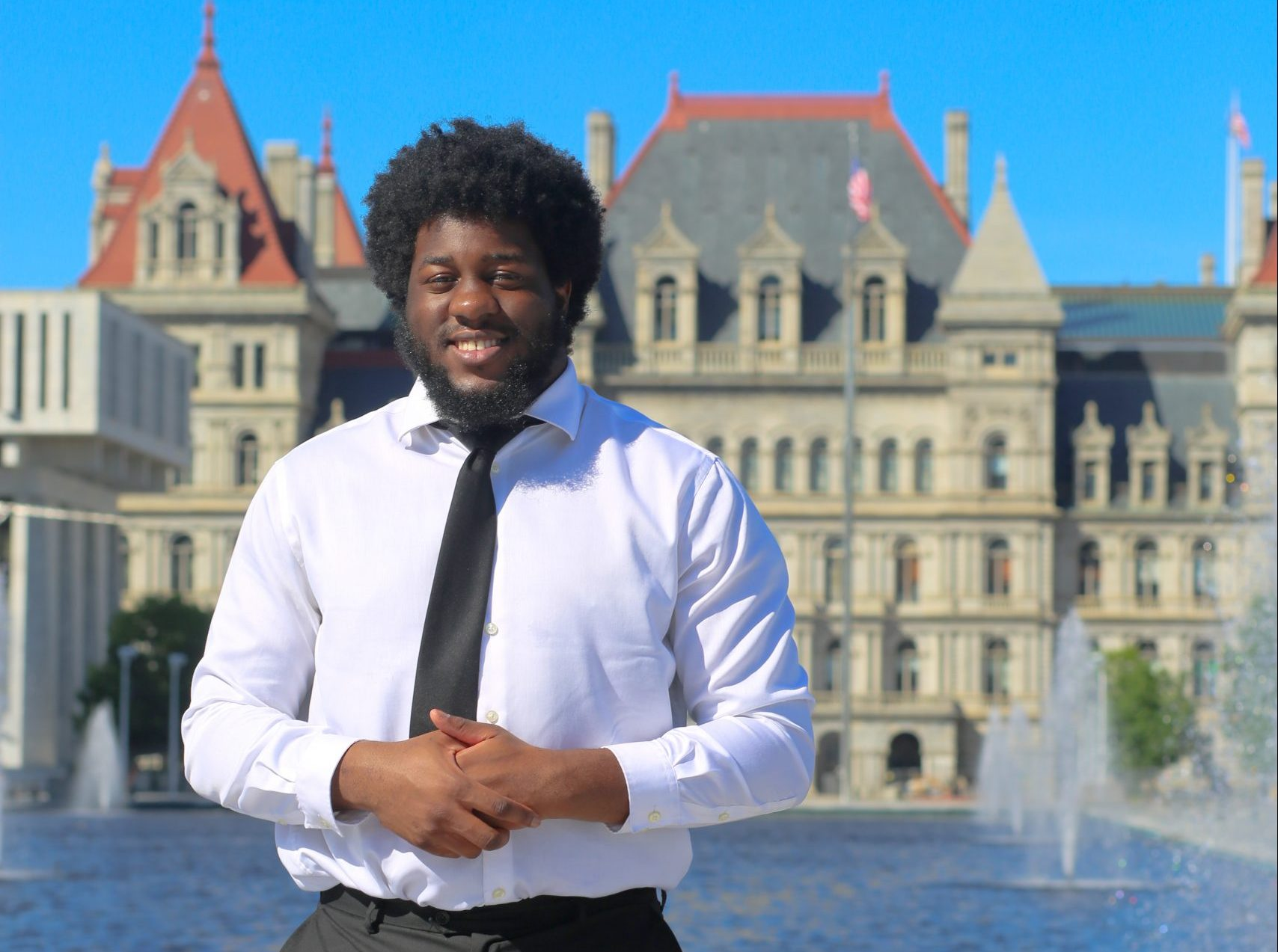 Mark Edem in front of the NYS Capitol